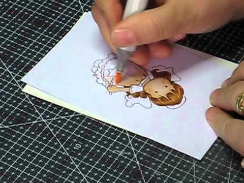 Faber Castell bruin haar inkleuren - YouTube