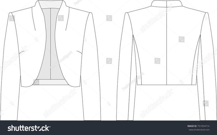 Technical drawing of woman's bolero jacket #fashionflats #illustration