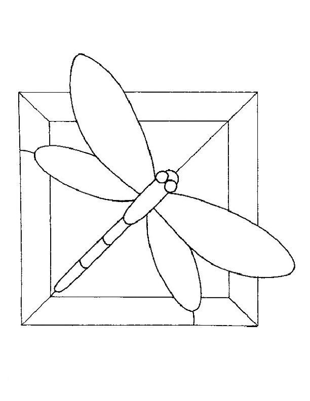 simple stained glass bird pattern | Dragonfly Stained Glass Patterns