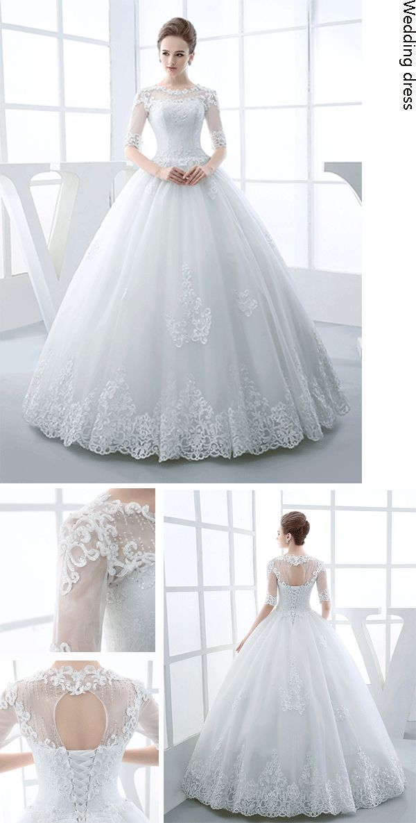 $206.99 Dresswe.com SUPPLIES Half Sleeve Scoop Neck Appliques Beading Ball Gown Hot Wedding Dress