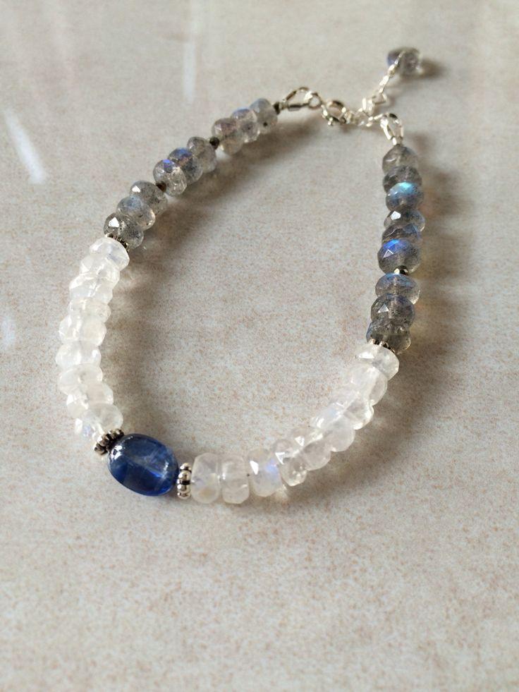 Kyanite * White labradorite * Gray labradorite * Golden pyrite * Silver * color blocked bracelet _ by So.