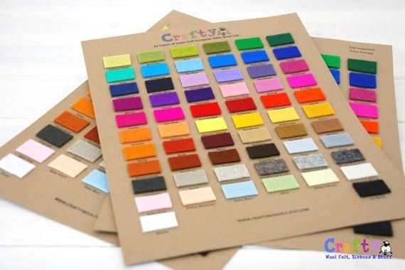 Wool Felt Color Chart - 62 Colors: Wool Felt, 10 00, 100 Wool, Chart 100, Color Charts, 62 Colors, Felt Color, Craft Items