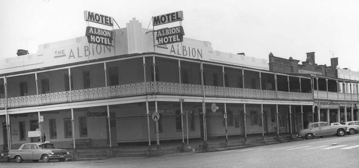 The Albion Hotel, Parker Str, Cootamundra. Bruce Williams' Humber car parked out the front of T. Williams & Co. 1950's?