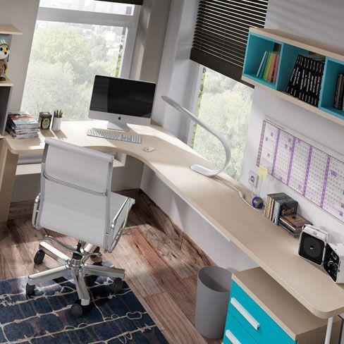 Decorar una zona de estudio de un dormitorio juvenil. Dormitorio de la colección Niu de Kibuc con escritorio que aprovecha el rincón.