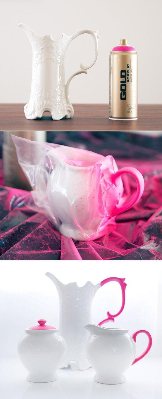 DIY update classic pottery with some neon spray paint - hello thrift stores!!!
