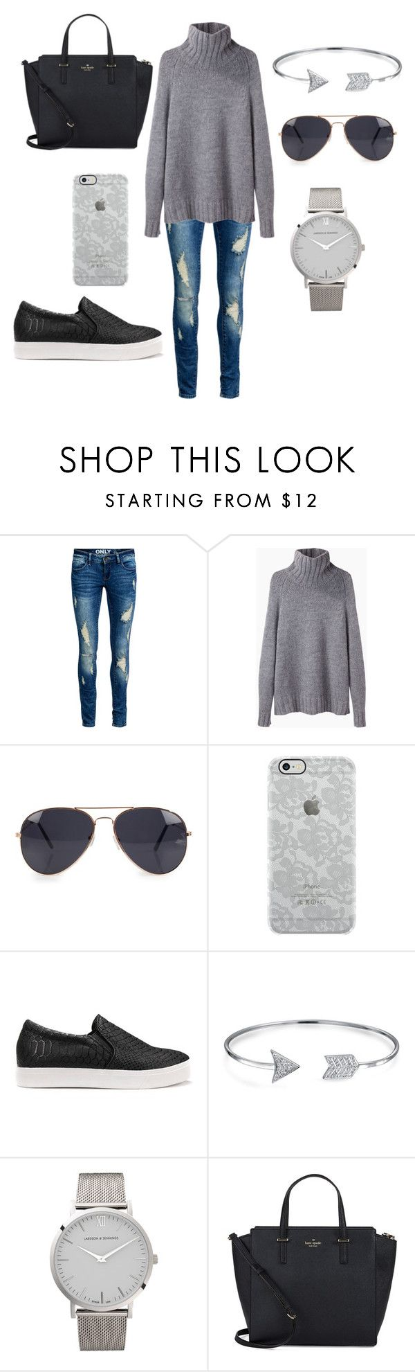 """""""Greyscale"""" by amanda-j-burke on Polyvore featuring ONLY, La Garçonne Moderne, NLY Accessories, Uncommon, Bling Jewelry, Larsson & Jennings and Kate Spade"""