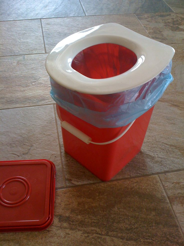 Camping Potty ...Take any 5 gallon bucket (the square ones fit the seat well),  a mini toilet seat (for potty training kids), a roll of scented dollar store bags and some kitty litter.  Store litter and bags in the bucket if you dare, scoop a half cup of litter into a plastic bag slung into the bucket and voila, instant potty with easy cleanup! Hey, we all do it!