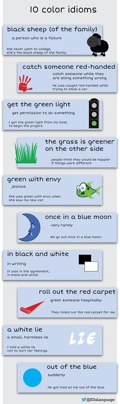 10 color idioms #ESL #infographic #ELT #English