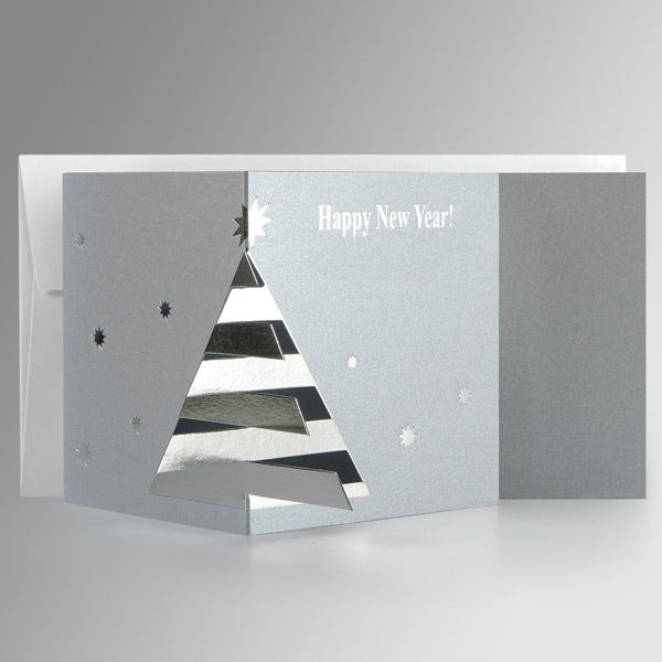 Silver Corporate Xmas Cards UK - Original Fur-Tree on Silver - Polina Perri
