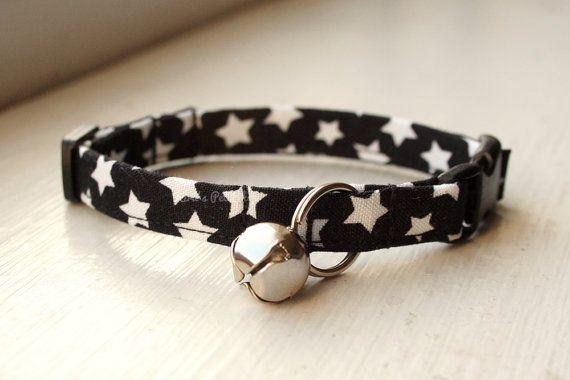 Starry Cat Collar, Breakaway Cat Collar, Handmade Cat Collar, Girly Cat Accessories, Pet Accessories, Fabric Cat Collar, Unisex B&W Stars