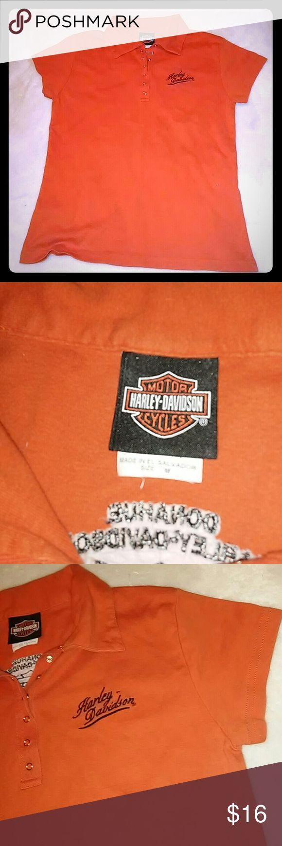 womens med. Harley Davidson shirt Worn a handful of times. Similar to a polo shirt. Shirt purchased from st.cloud harley davidson store. Harley-Davidson Tops Tees - Short Sleeve
