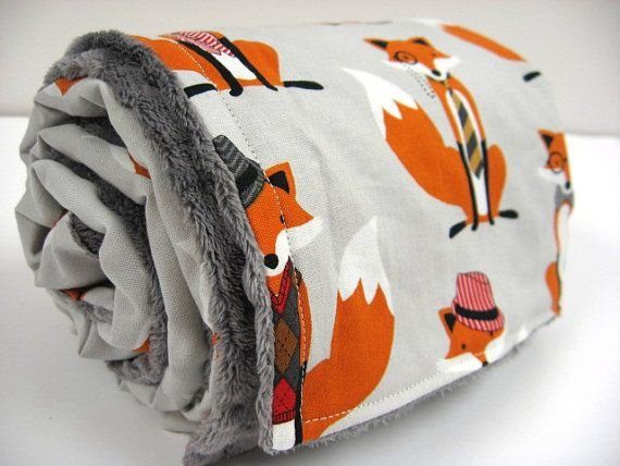 Dapper Fox Baby Blanket, so cute in a woodland nursery!