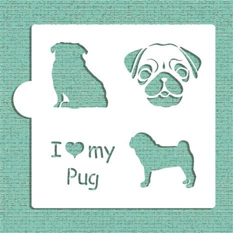 I Love My Pug Cookie and Craft Stencil