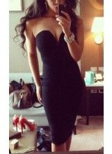 V-Cut Bodycon Midi Dress @celebrityfashionlookbook.com $49.99. We ship internationally. Feel free to pin:)