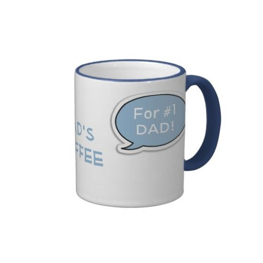 Personalized Light Blue Speech Bubble Coffee Mug Ringer Mug. Show everyone how you prefer your coffee with this personalized mug, Customize it to add your own name. This mug will make it perfect for making sure no one ever gets your drink wrong ever again. Light blue colored speech bubbles at each side of the name allow you to add your own special message for the coffee maker in your family or office. Perfect for the number 1 dad on Father's Day.