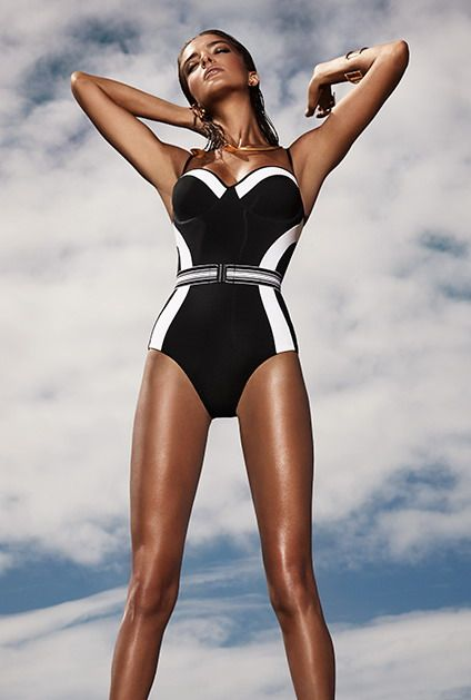 Optima 16 D/U Wire Black and White Colour Block Swimsuit SS 16/17 by Jets