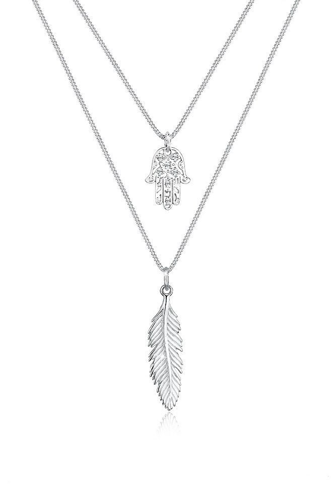 Elli Halskette »Feder Hamsa Layer Swarovski Kristalle 925 Silber « Jetzt bestellen unter: https://mode.ladendirekt.de/damen/schmuck/halsketten/silberketten/?uid=e79bd60f-4090-5337-8239-d98fa5f0b24f&utm_source=pinterest&utm_medium=pin&utm_campaign=boards #schmuck #halsschmuck #halsketten #silberketten