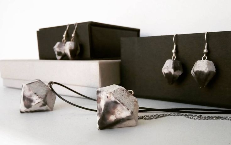 Minimalist diamond shape concrete necklaces and earrings.