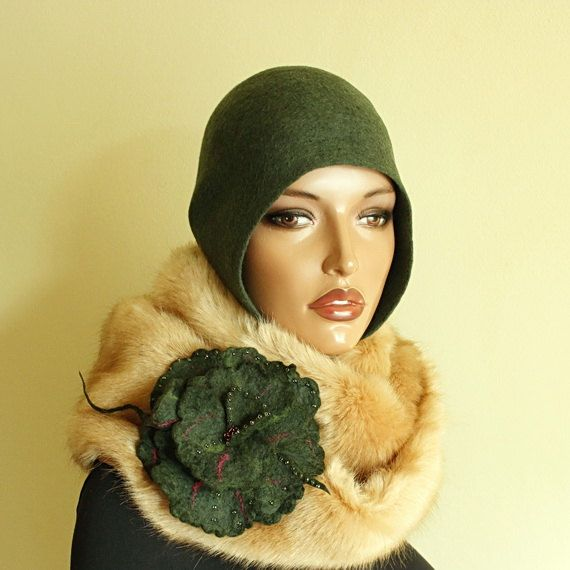 Dark green hat Felted hat Felted cap Felt hat 1920s от ZiemskaArt