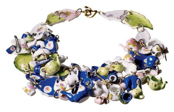 Tea party inspired bracelet; ceramic. Artist: Tom Binns.