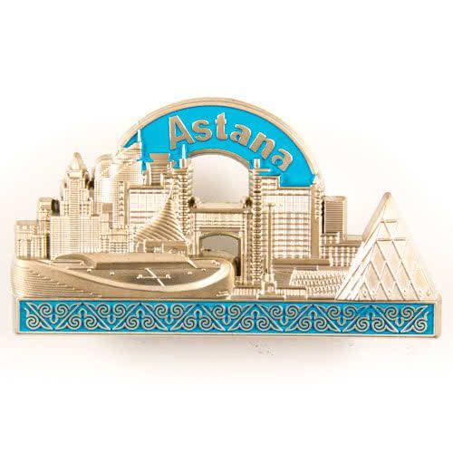 Metal Fridge Magnet: Kazakhstan. Astana View (Silver Color)