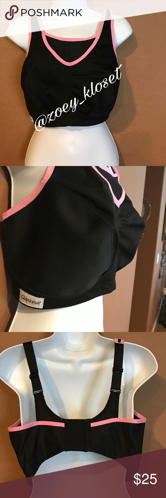 🆕 (PLUS) 36F Glamorise Black Pink  Sports Bra Never Worn, Adjustable Wide Straps, 3 Back Row Closure, Super Comfortable for working out. Glamorise Intimates & Sleepwear Shapewear