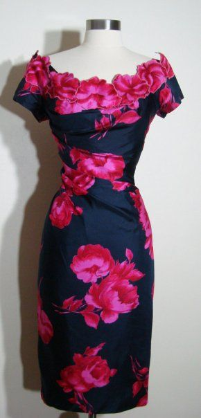 1950s black and fuschia cocktail dress