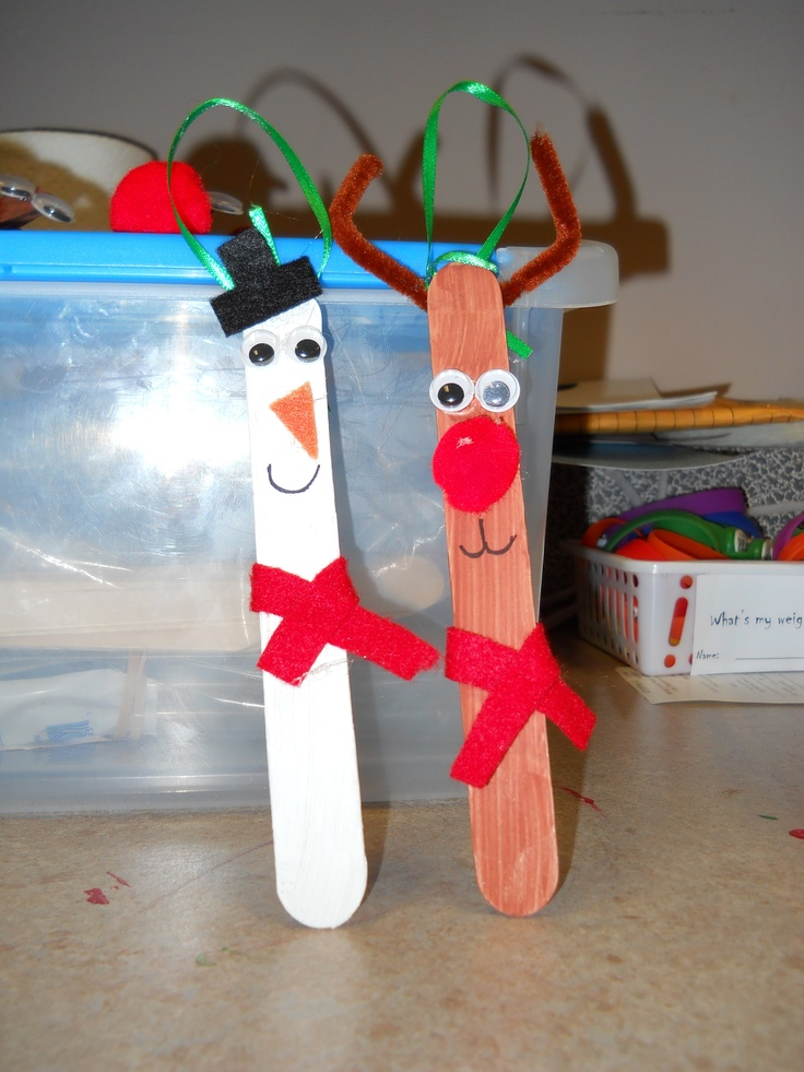 Reindeer and frosty popsicle stick ornaments we did these for Christmas projects with popsicle sticks