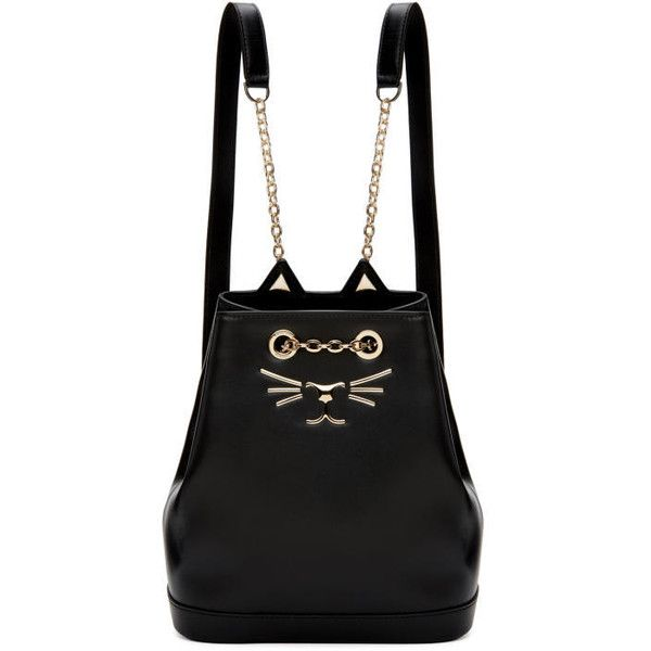 Charlotte Olympia Black Petite Feline Backpack (3.235 BRL) ❤ liked on Polyvore featuring bags, backpacks, black, charlotte olympia, backpack bags, daypack bag, studded backpack and rucksack bags