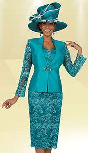 Style : BM47925-IH Colors : Aquamarine ( 3pc Shantung With Lace Ben Marc Designer Sunday Suit )