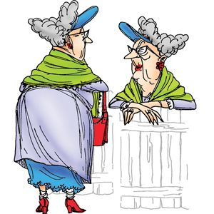 Old lady with shawl and visor - Set of 2