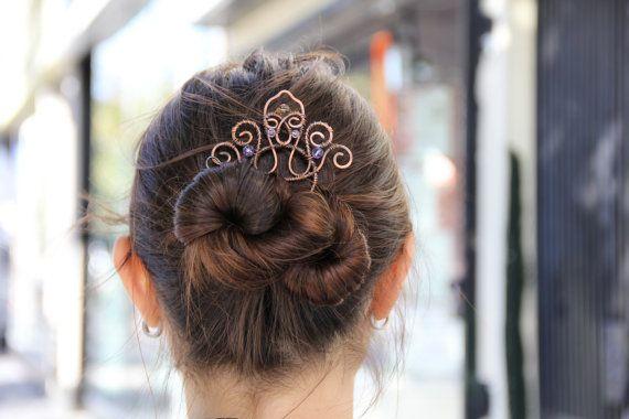 Hair fork copper diadem tiara wire hair comb metal by Kapelika, $45.00