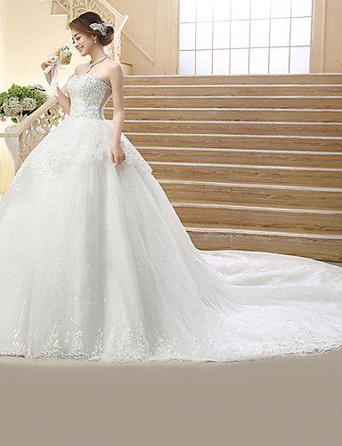 Принцесса Свадебное платье Со шлейфом средней длины Без бретелей Тюль с Пайетки / Вышивка 2970365 2016 – $89.99