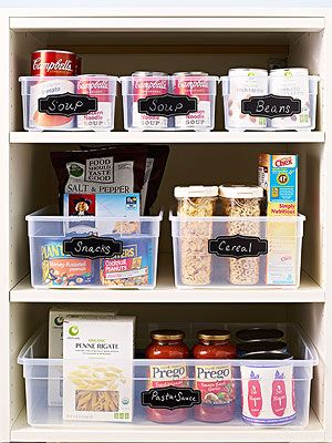 A Thoughtful Place | Use clear bins to organize your pantry, and see everything in one glance!
