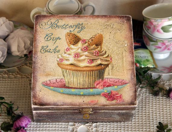 Wooden Tea Box Container Wooden Storage box  cupcake Tea gift от DecoDvorik