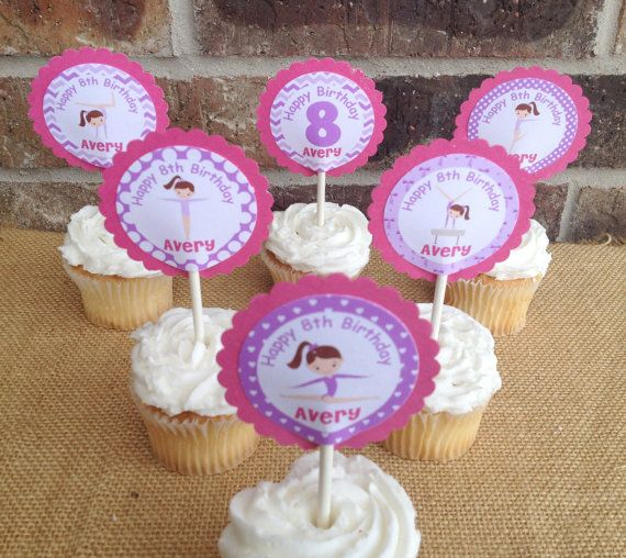 15 Personalized Gymnastics Ballet Dance Cupcake by susanefird