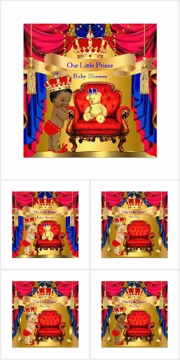 A Red Gold Prince Baby Shower Boy Invitations