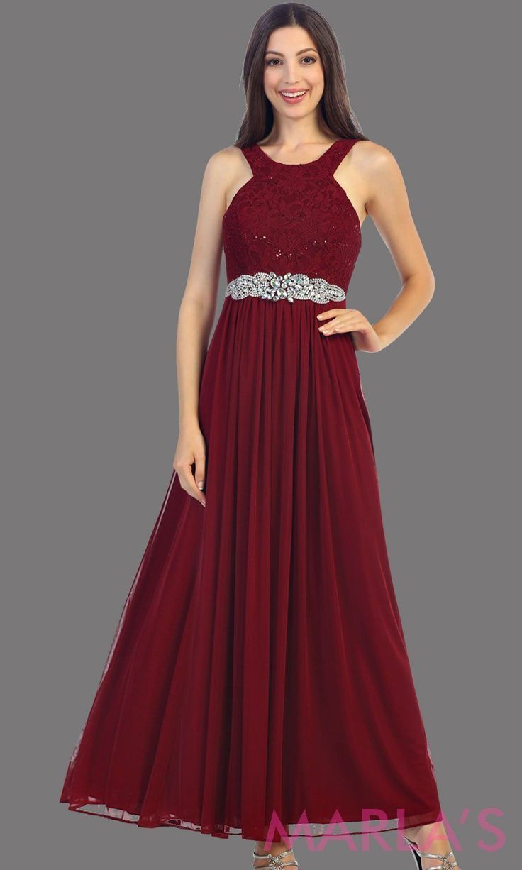 Long High Neck Burgundy Flowy Party Dress The High Neck Is Lace And Flows Into A Chiffon Skirt This Is The Dresses White Dresses Graduation Simple Prom Dress [ 1226 x 736 Pixel ]
