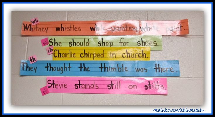 Use alliteration to review phonics! Tongue Twisters on Sentence Strips at RainbowsWithinReach