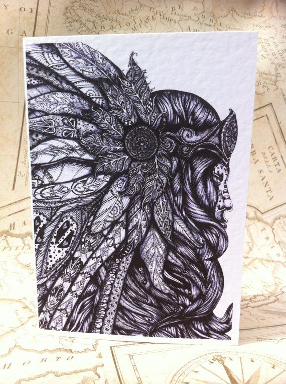 Feathered Headdress Card A6 Greeting Card by RosehartStudio