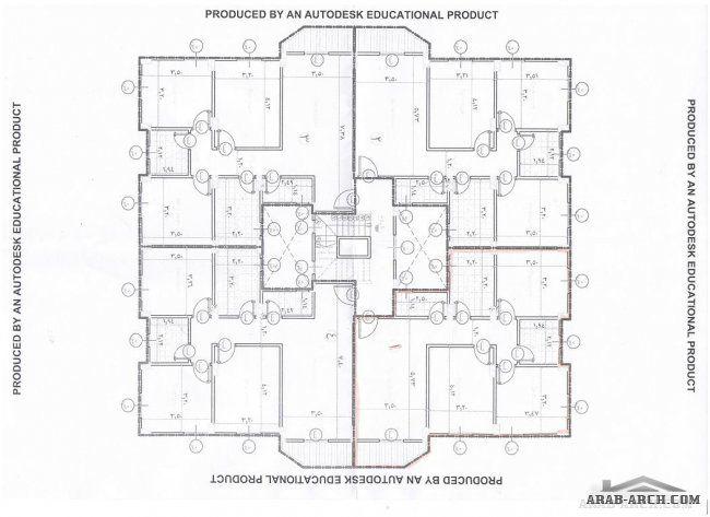 خريطة عمارة 4 شقق مساحه الشقة 100 متر مربع تقريبا Diagram Floor Plans