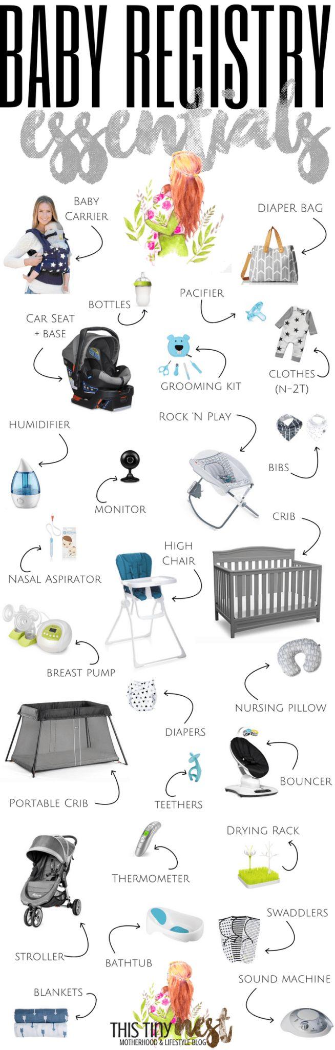 BABY REGISTRY ESSENTIALS (  Free Checklist!) - ThisTinyNest.com #newbornessentials #babyregistry #babymusthaves #mommusthaves #registry #freechecklist