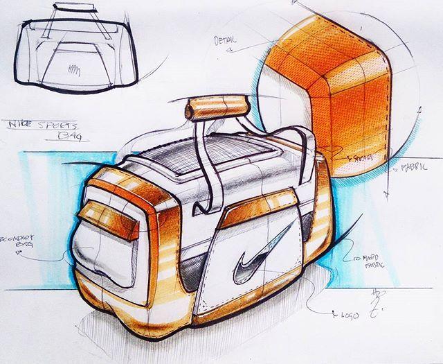 Nike Sport Bag #idsketching #idsketch #sketching #sketch #industrialdesign #sketchaday #dailysketch #sports #bag #nike #copic #drawing #design #designsketch #everydaydesignuk