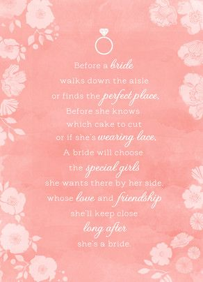 Bridesmaid Poem on Pink Watercolor 5x7 Folded Card