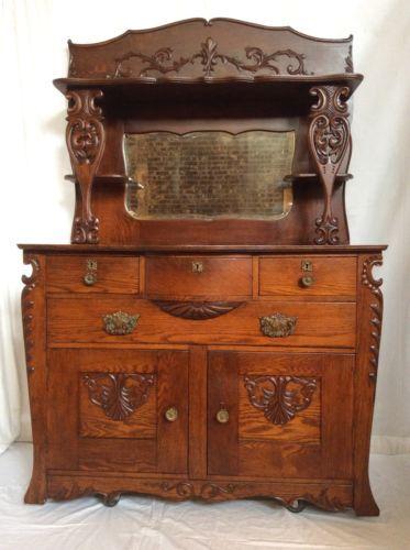 Antique-Victorian-1880-039-s-Tiger-Quarter-Sawn-Carved-Oak-Sideboard-Buffet-Server