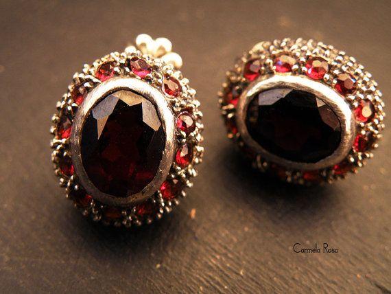 Victorian earrings Ruby earrings antique silver by CarmelaRosa