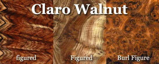 CARLO WALNUT // The English Botanist Richard B. Hinds while on a voyage around the world that lasted from 1836 to 1842, discovered a new species of walnut growing in California in the Sacramento Valley. In honor of his discovery this new species of walnut was named Juglans hindsii. The name Claro was first introduced by the gunstock industry in the mid 1960's and refers to the species of walnut discovered by Mr. Hinds. // http://www.woodnut.com/select.htm