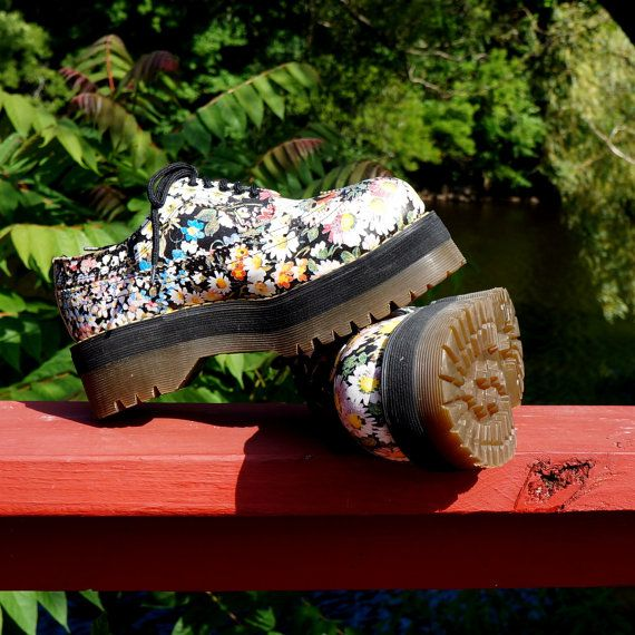 1990s RARE Dr Martens / Docs Floral / Flower 5 by RenegadeRevival  # Doc Martin Shoes
