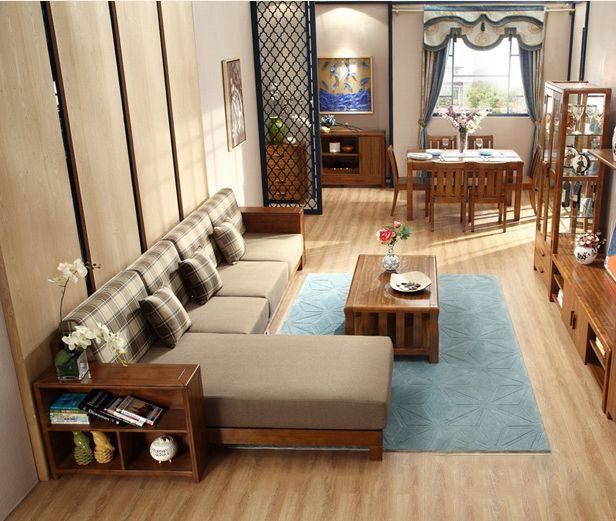Деревянный диван с полкой в подлокотниках с широким угловым модулем и текстильной обивкой можно купить https://lafred.ru/catalog/catalog/detail/39938001343/