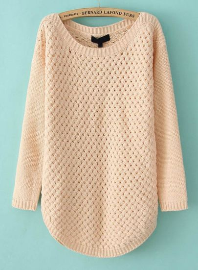 Pink Long Sleeve Hollow Knit Pullover Sweater pictures
